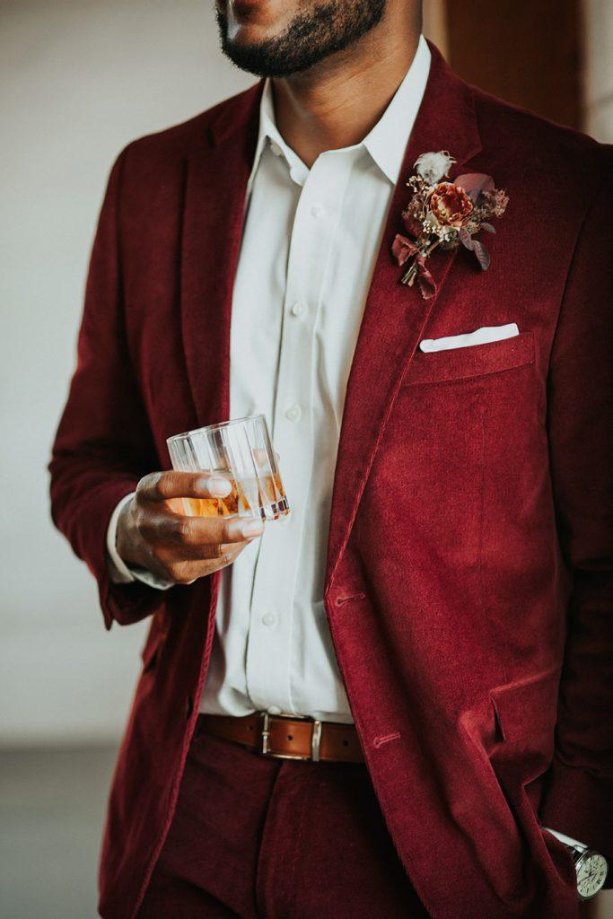 Groom in Burgundy Red Suit